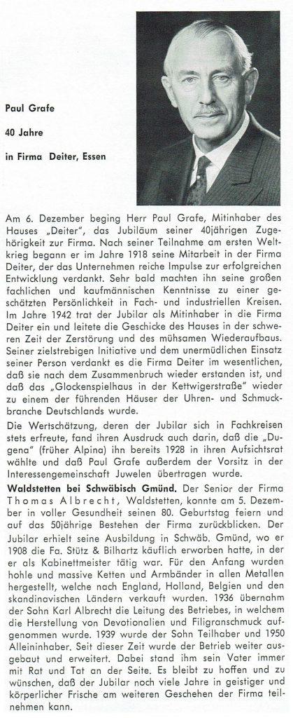 40 Jahre Firmenzugehörigkeit Paul Grafe