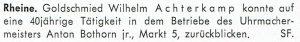 40 Jahre Meister-Jubiläum: Wilhelm Achterkamp