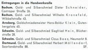 Eintragungen in die Handwerksrolle von Bochum, Arnsberg, Schwelm und Dortmund