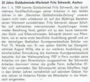 25. Firmenjubiläum der Firma Fritz Schwerdt Aachen