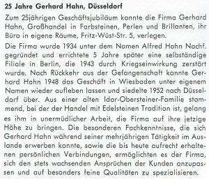 25. Firmenjubiläum der Firma Gerhard Hahn Düsseldorf