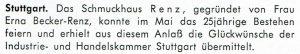 25. Firmenjubiläum der Firma Schmuckhaus Renz Stuttgart
